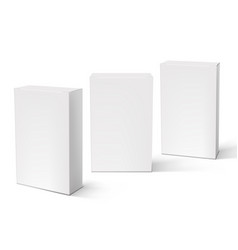 3d white blank packaging boxes set isolated vector image