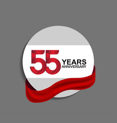 55 years anniversary design in circle red ribbon vector
