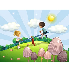 A boy and a girl riding a seesaw vector