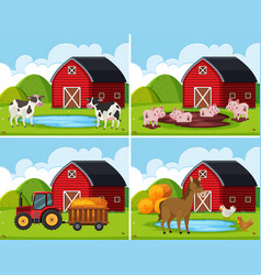 a set of rural farm house vector image