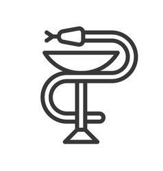 a snake twined around a chalice bowl of hygieia vector image