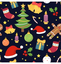 Beautiful seamless pattern with christmas symbols vector image