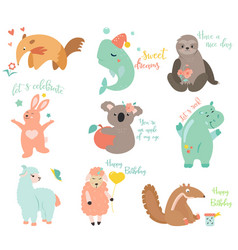 Big set of funny cartoon animals vector