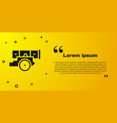 Black cannon icon isolated on yellow background vector