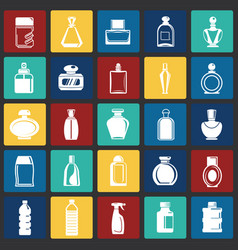 bottle icons set on color squares background for vector image
