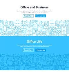 Business Office Life Line Art Web Banners Set vector