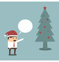 Businessman with christmas tree eps 10 vector image