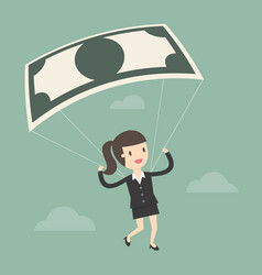 businesswoman using bank note as a parachute vector image