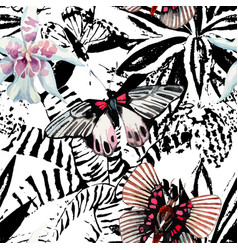 butterflies and orchid watercolor exotic pattern vector image