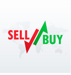 Buy and sell arrows for stock market trading vector