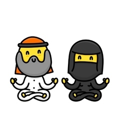 Cartoon muslim couple doing yoga together isolated vector image