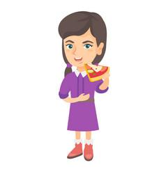 caucasian girl eating tasty pizza vector image