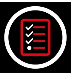 Checklist flat red and white colors rounded vector