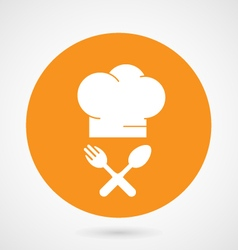 Chief-cooks hat and crossed fork and spoon vector image