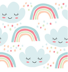 childish seamless pattern rainbows smiling clouds vector image