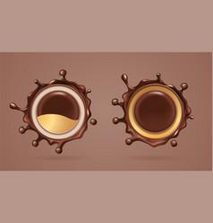 Chocolate splash or cocoa liquid splat vector
