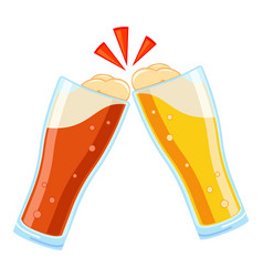 colorful cartoon two beer glasses vector image