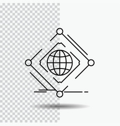 Complex global internet net web line icon on vector