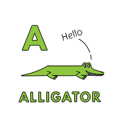 Cute cartoon animals alphabet alligator vector