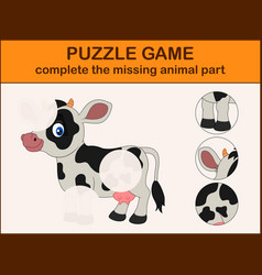 Cute cow cartoon complete the puzzle vector