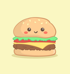 Cute hamburger burger cartoon vector