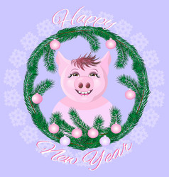 cute pig in the snow-covered window vector image