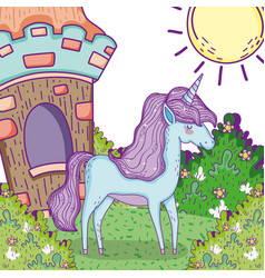 cute unicorn animal with house and bushes plants vector image