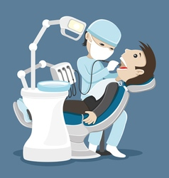 Dentist treats teeth vector image