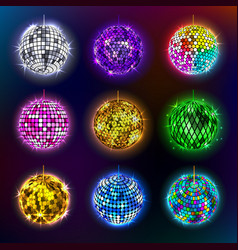 Disco balls of discotheque vector