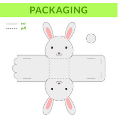 Diy party favor hare box for birthdays baby vector