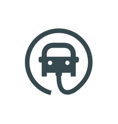 electric car road sign icon electrical car vector image