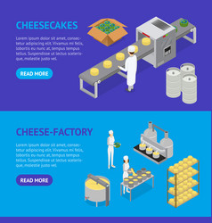 Factory cheese production line banner horizontal vector