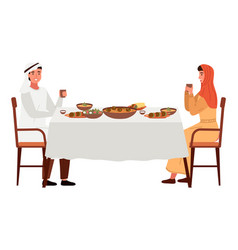 family eating kosher food at home people vector image