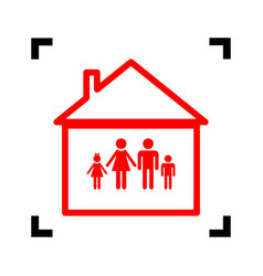 family sign red icon inside vector image