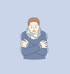 feeling cold and frozen concept vector image