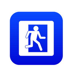Fire exit sign icon digital blue vector