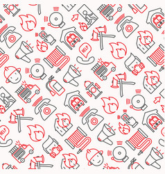 Firefighter seamless pattern with thin line icons vector
