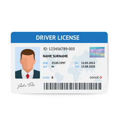 Flat man driver license plastic card template id vector