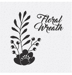 floral wreath flower berries leaves natural vector image