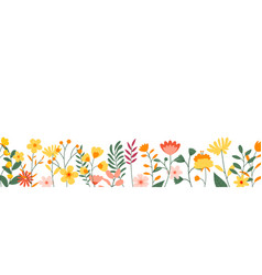 flowers and leaves horizontal background floral vector image
