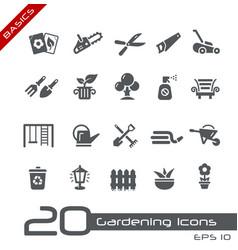 Garden and gardening icons - basics vector