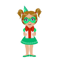 girl in green mask holding present part of kids vector image