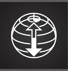 globe icon on black background for graphic and web vector image