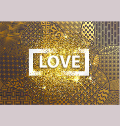 golden background happy valentine day vector image