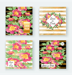 Greeting cards with flower rose wreath leaves vector