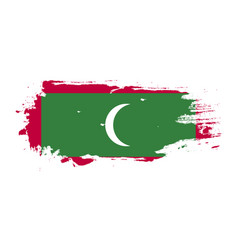 Grunge brush stroke with maldives national flag vector
