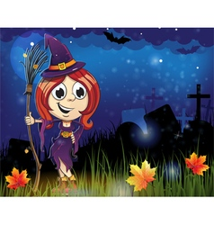 Halloween witch in the cemetery vector