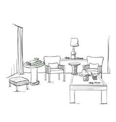 Hand drawn room interior sketch vector image vector image