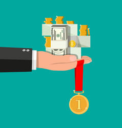 hand holding pile of cash money and medal vector image