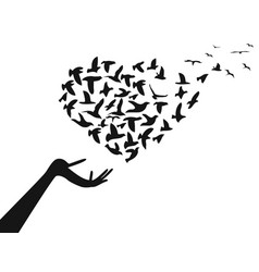 Hand with heart shaped flying birds vector